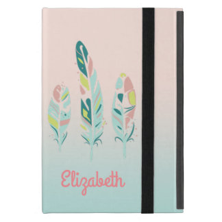 Adorable Cute  Modern Girly Feathers,Personalized iPad Mini Cover