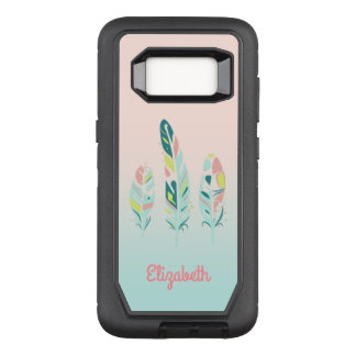 Adorable Cute  Modern Girly Feathers,Personalized OtterBox Defender Samsung Galaxy S8 Case