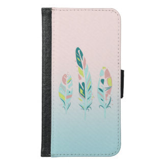 Adorable Cute  Modern Girly Feathers Samsung Galaxy S6 Wallet Case
