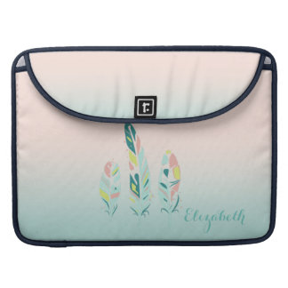Adorable Cute  Modern Girly Feathers Sleeve For MacBook Pro