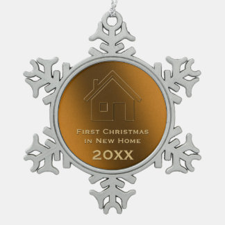 Adorable design First Christmas in New Home 20XX Snowflake Pewter Christmas Ornament