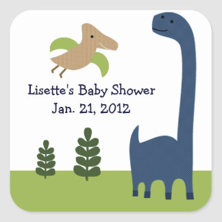 Adorable Dino/Dinosaur 3 Stickers/Envelope Seals Square Sticker