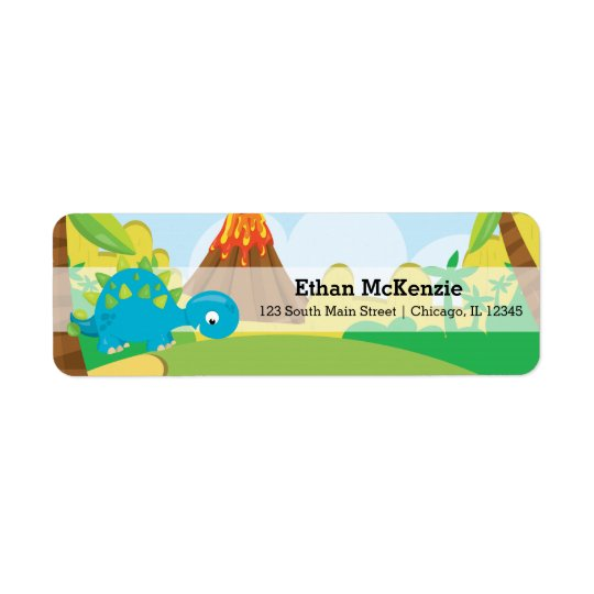 Adorable dinosaur return address label
