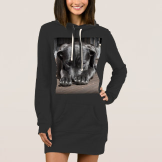 Adorable Dog Print Hoodie Dress for Women