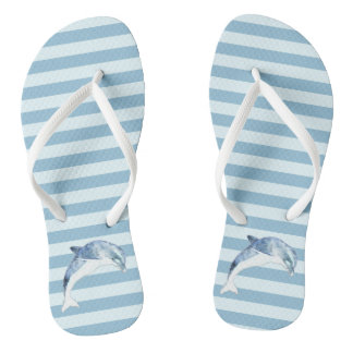Adorable Dolphin On Light Blue  Stripes Thongs
