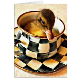 Adorable Duckling In Tea Cup Card