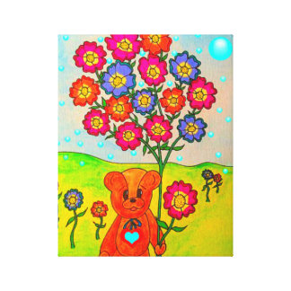Adorable Dudley The Bear Wrapped Canvas Stretched Canvas Prints