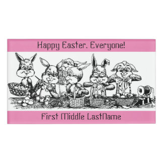 Adorable Easter Bunnies Large Rectangle Name Tag