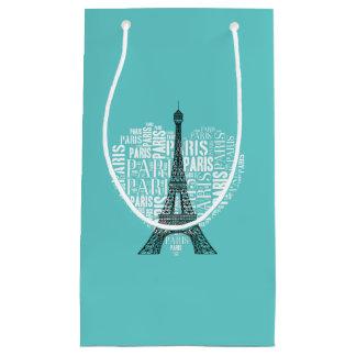 Adorable Eiffel Tower Love Paris | Aqua Small Gift Bag