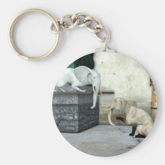 Adorable Elephant Cats Basic Round Button Key Ring