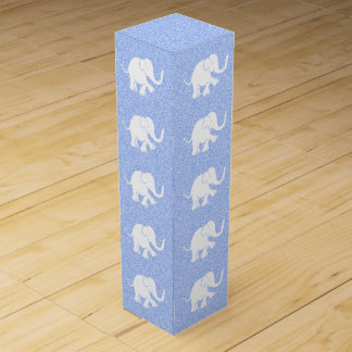 Adorable Elephants on Spreckled Baby Blue Ground Wine Box