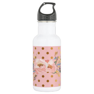 Adorable  Faux Gold Polka Dots Flowers 532 Ml Water Bottle