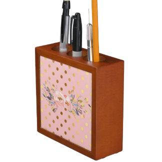 Adorable  Faux Gold Polka Dots Flowers Desk Organiser