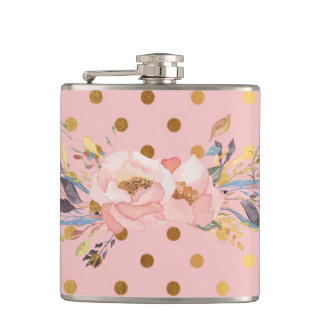 Adorable  Faux Gold Polka Dots Flowers Hip Flask