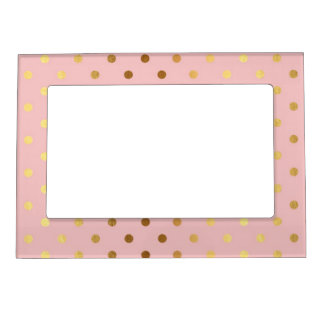 Adorable  Faux Gold Polka Dots Flowers Magnetic Frame