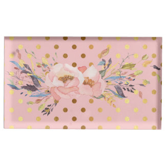Adorable  Faux Gold Polka Dots Flowers Table Card Holder