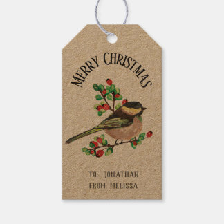 Adorable Finch Personalized Christmas Gift Tag