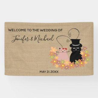 Adorable floral funny cartoon cats in love burlap banner