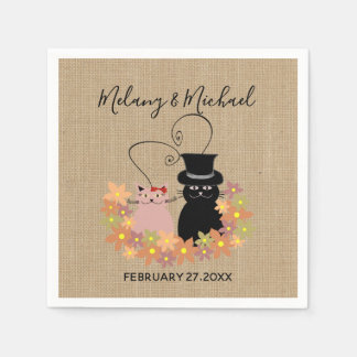 Adorable floral funny cartoon cats in love burlap disposable serviette