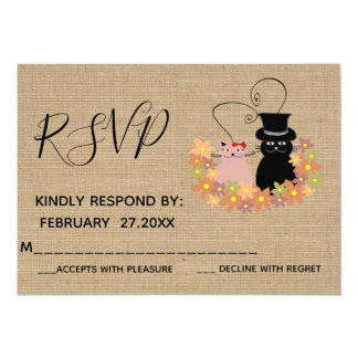 Adorable floral funny cartoon cats in love RSPV Card