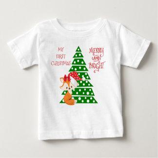 Adorable Fox and Christmas Tree Baby T-Shirt