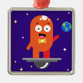 Adorable Friendly Surfing Alien Metal Ornament