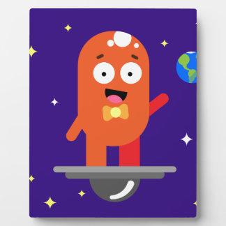 Adorable Friendly Surfing Alien Photo Plaque