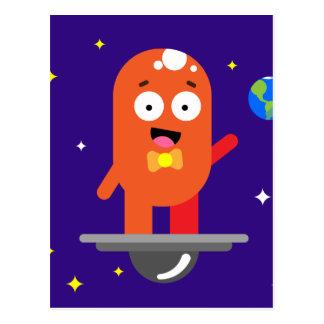 Adorable Friendly Surfing Alien Postcard