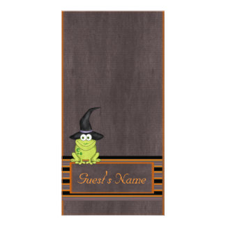 Adorable Frog in a Witches Hat Halloween Photo Card