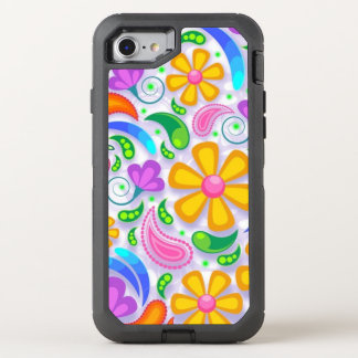 adorable fun colored floral OtterBox defender iPhone 7 case
