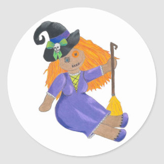 Adorable fun witch ragdoll Haloween stickers