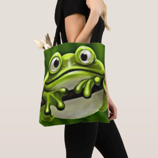 Adorable Funny Cute Green Frog In Tree Tote Bag
