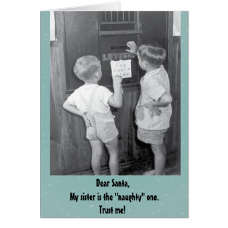 Adorable funny vintage Christmas greeting Greeting Card