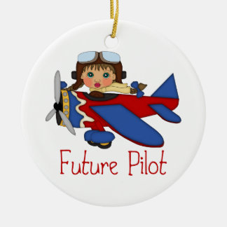 Adorable Future Pilot, Helicopter Pilot  - GIRLS Ceramic Ornament