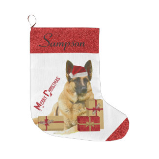 Adorable German Shepherd in Santa Hat