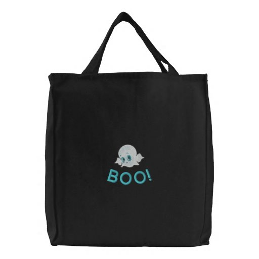 Adorable Ghost Embroidered Tote Bag