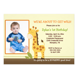 Adorable Giraffe PHOTO Birthday 5x7 Invitations