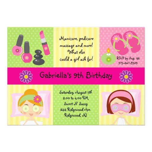 Adorable Girl's Spa Party Birthday Invitation