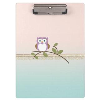 Adorable Girly Cute Owl Clipboard