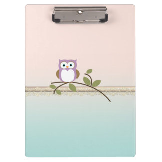 Adorable Girly Cute Owl Clipboards