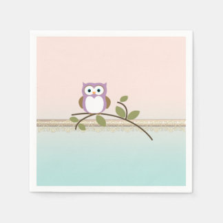Adorable Girly Cute Owl Paper Napkin
