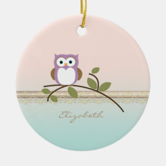 Adorable Girly Cute Owl,Personalized Ceramic Ornament