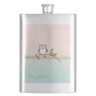 Adorable Girly Cute Owl,Personalized Hip Flask