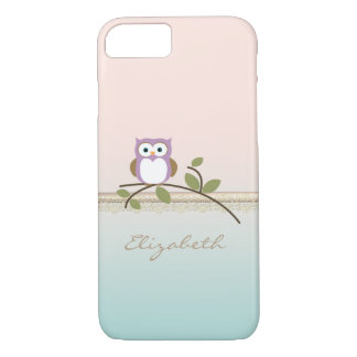 Adorable Girly Cute Owl,Personalized iPhone 7 Case