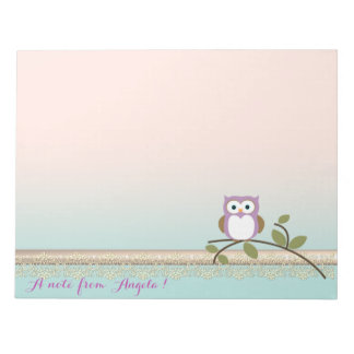 Adorable Girly Cute Owl,Personalized Notepad