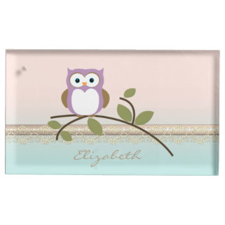 Adorable Girly Cute Owl,Personalized Table Number Holder