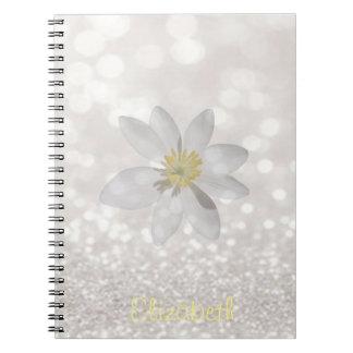 Adorable Girly,Daisy ,Glittery,Bokeh ,Personalized Notebook