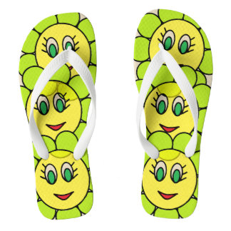 Adorable Girly Smiley Flowers Flip Flops