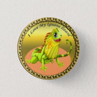 Adorable Gold green happy nature iguana lizard 3 Cm Round Badge