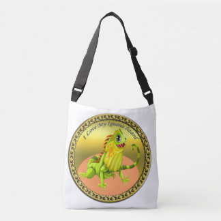 Adorable Gold green happy nature iguana lizard Crossbody Bag